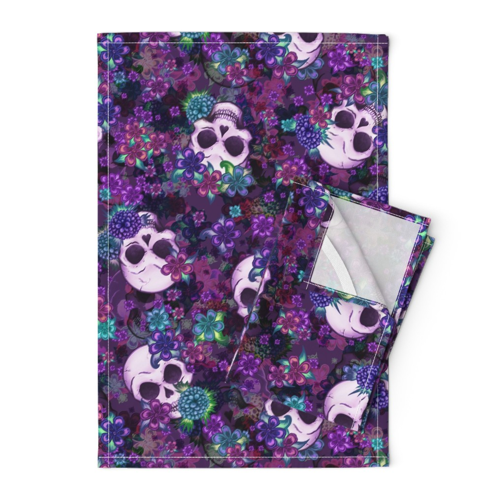 Orpington Tea Towels featuring Flowers and Skulls by elladorine