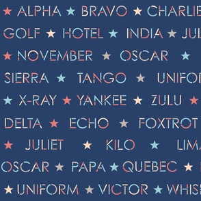 Nautical alphabet on navy