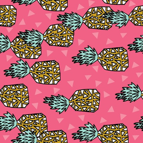 pineapple // tropical pink fruits exotic hawaii pink triangles summer sweet pineapples