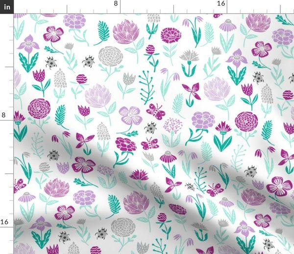 Fabric By The Yard Spring Botanicals Flowers Florals Purple Pastel Lilac Mint Ladybug Cute Girly Spring Print For Easter