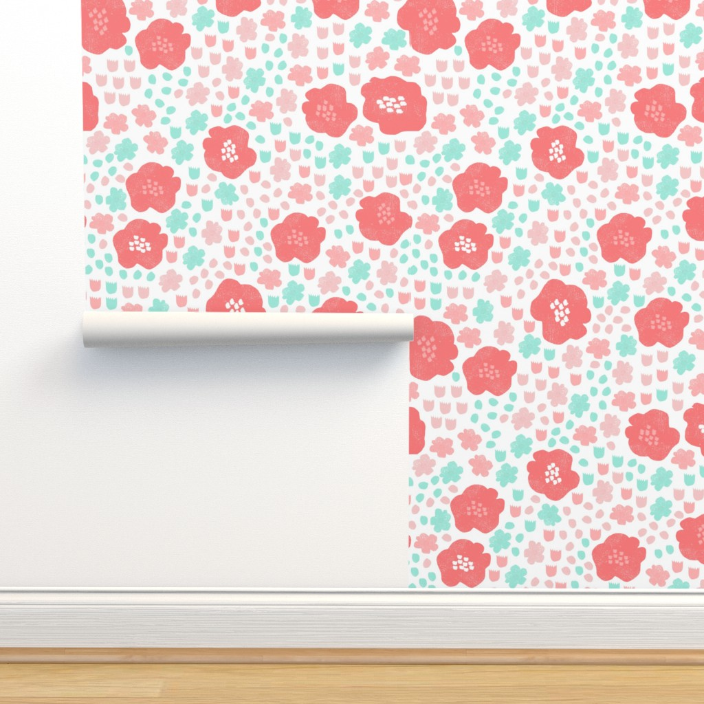 Flowers Mint Pink Coral Flower On Isobar By Andrea Lauren