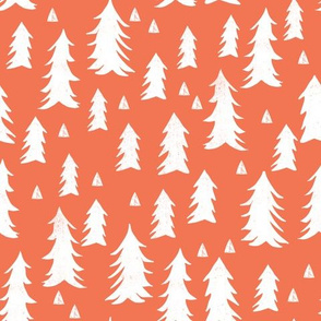 trees // forest trees coral orange woodland tree fir tree