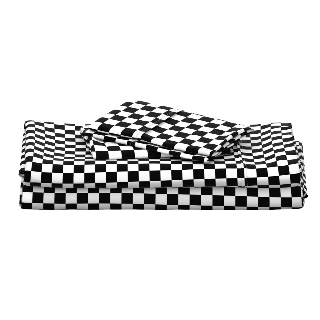 Langshan Full Bed Set featuring One Inch Black and White Checkered by mtothefifthpower
