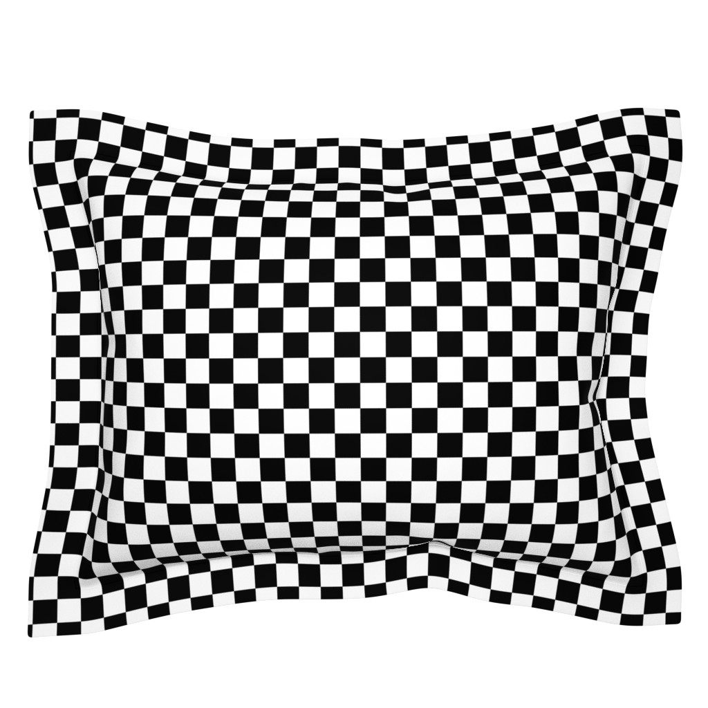 Sebright Pillow Sham featuring One Inch Black and White Checkered by mtothefifthpower