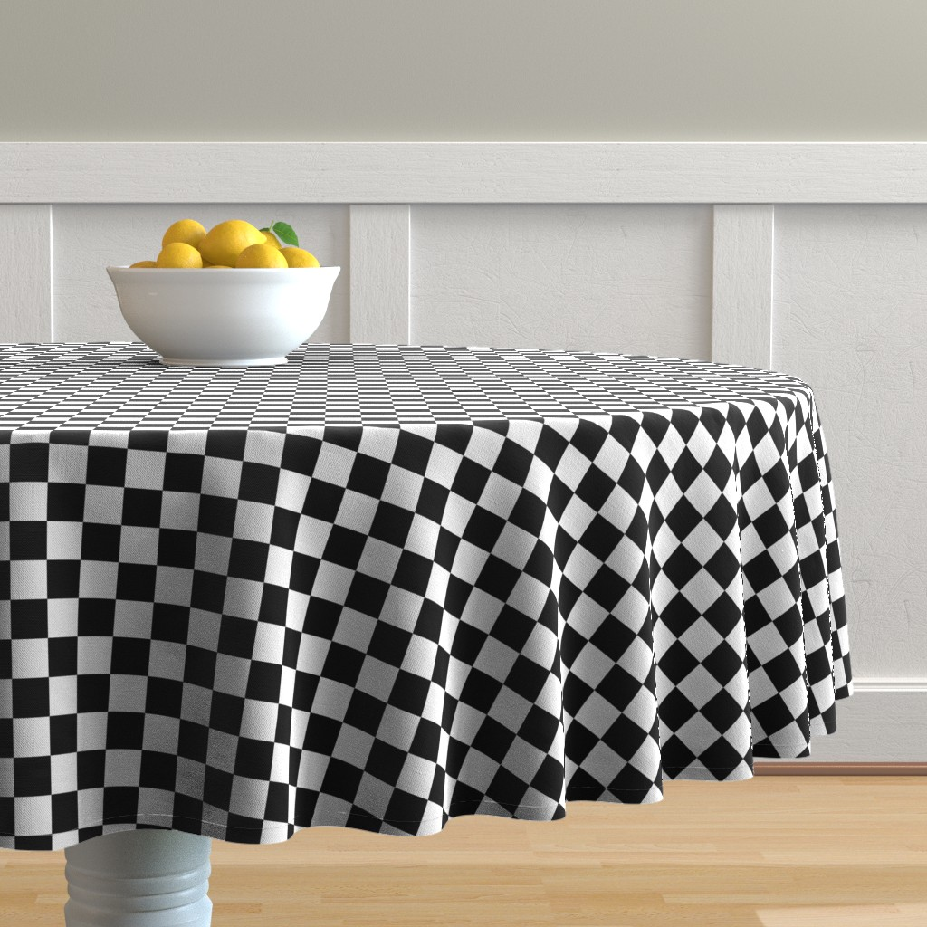 Malay Round Tablecloth featuring One Inch Black and White Checkered by mtothefifthpower