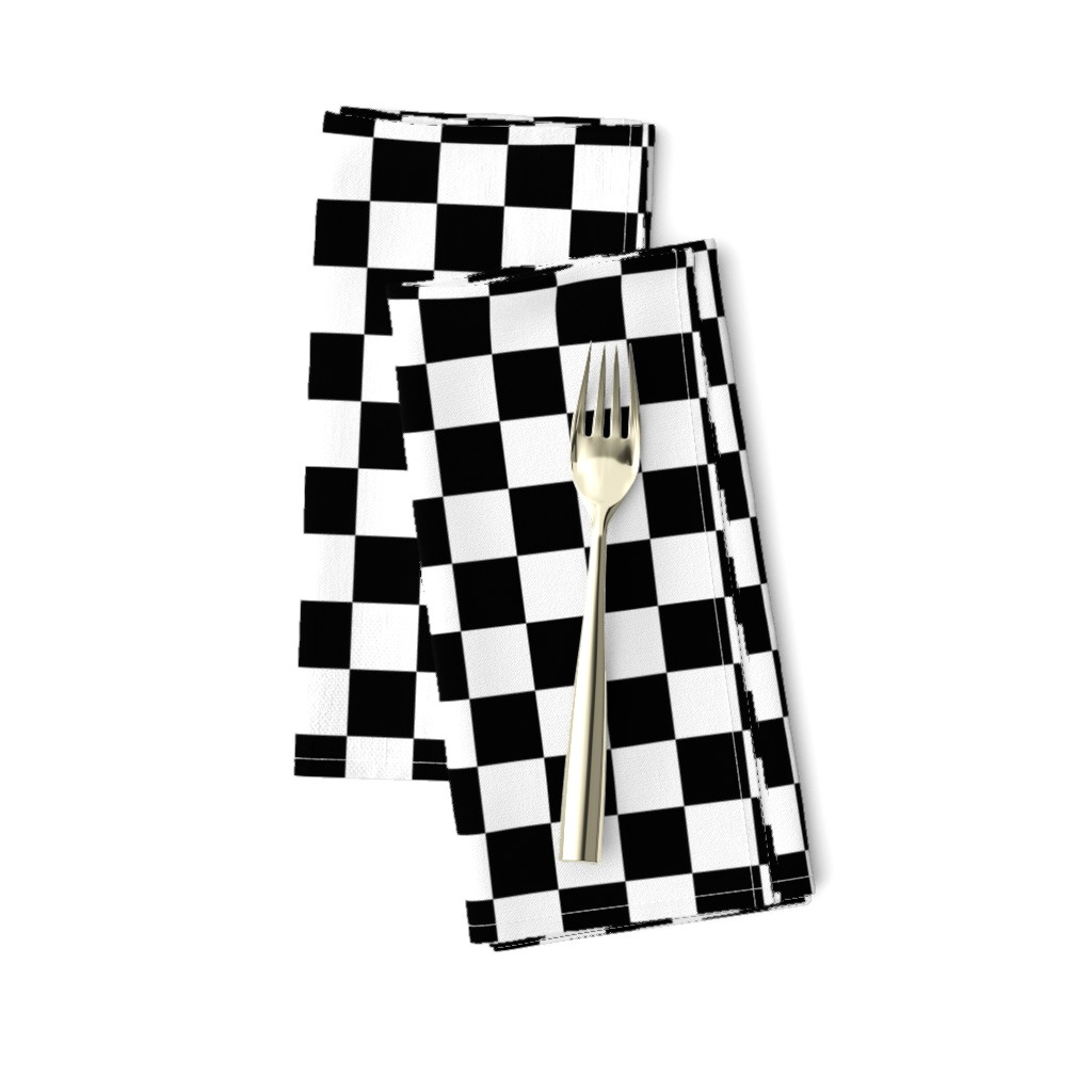 Amarela Dinner Napkins featuring One Inch Black and White Checkered by mtothefifthpower