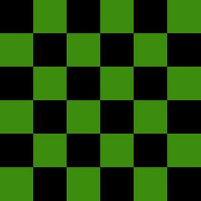 One Inch Black and Green Checkered