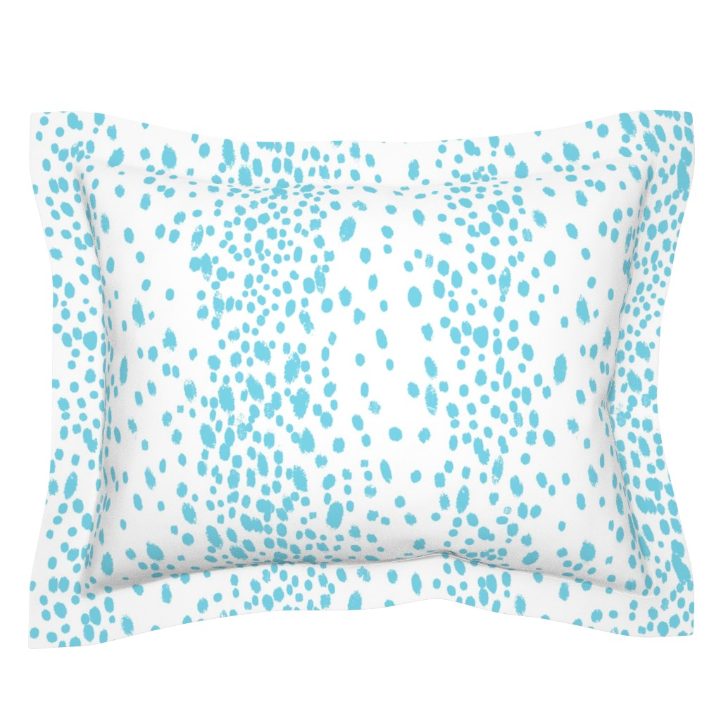 Sebright Pillow Sham featuring Dots in turquoise by domesticate
