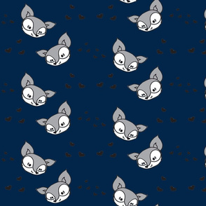 Silver Foxes and hearts navy