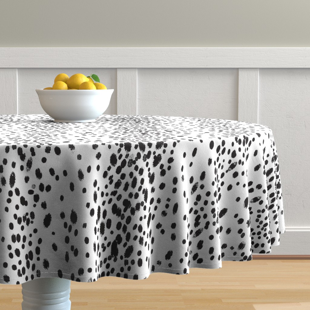 Malay Round Tablecloth featuring charcoal dots by domesticate