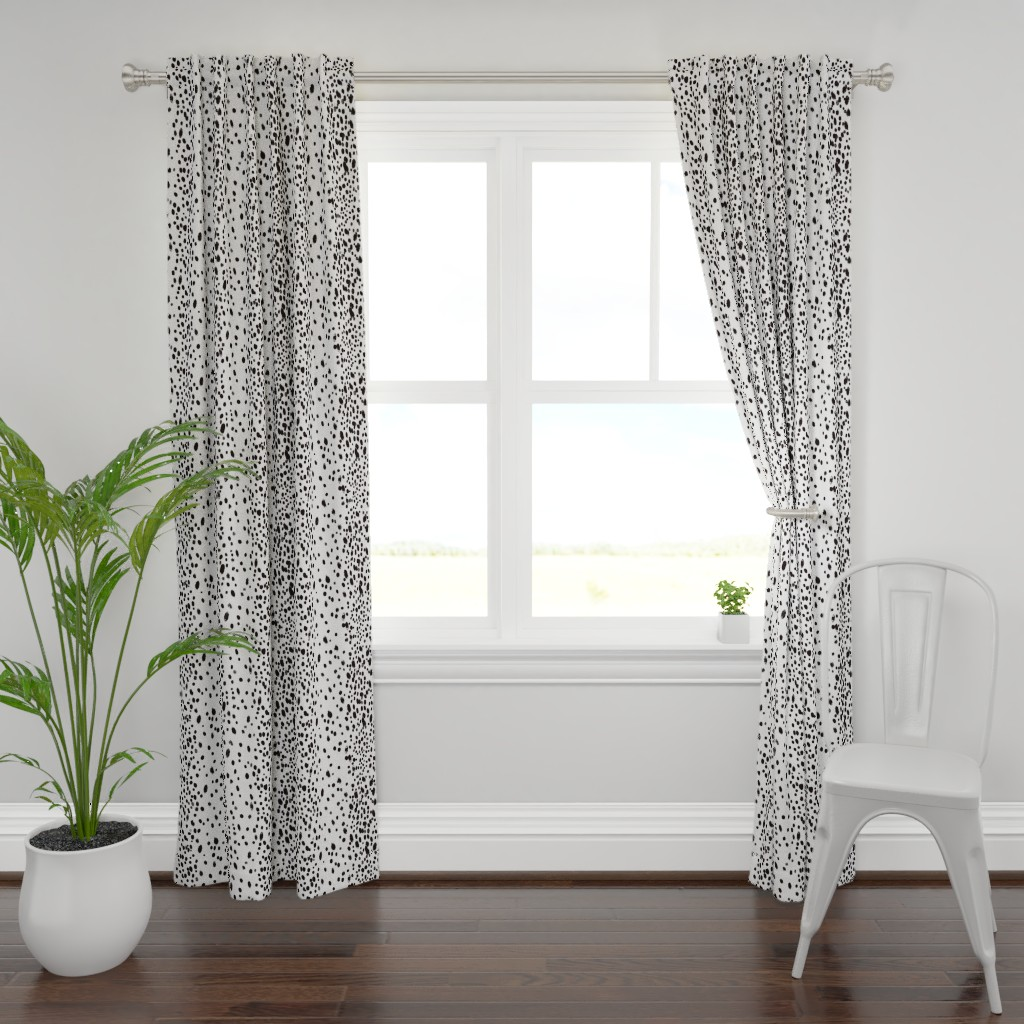 Plymouth Curtain Panel featuring charcoal dots by domesticate