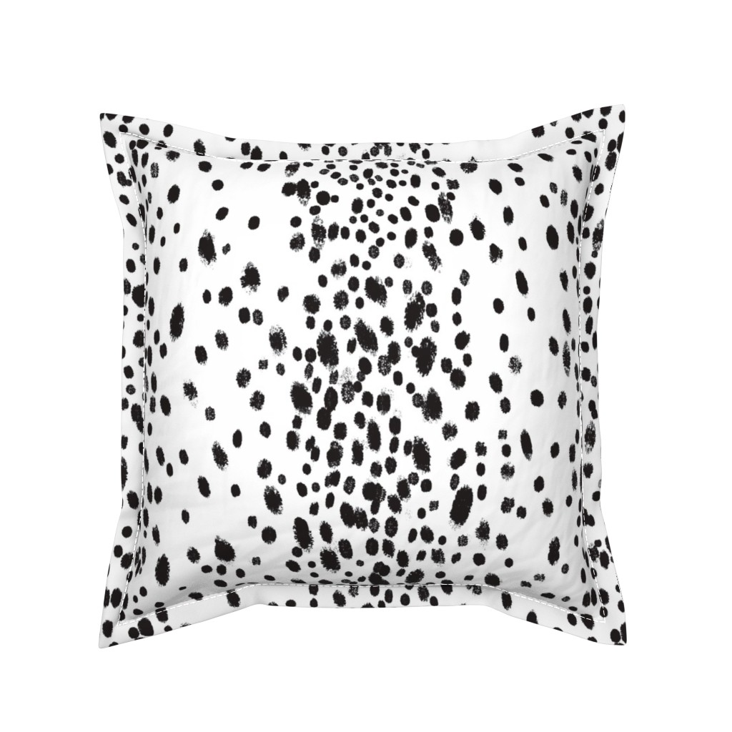 Serama Throw Pillow featuring charcoal dots by domesticate