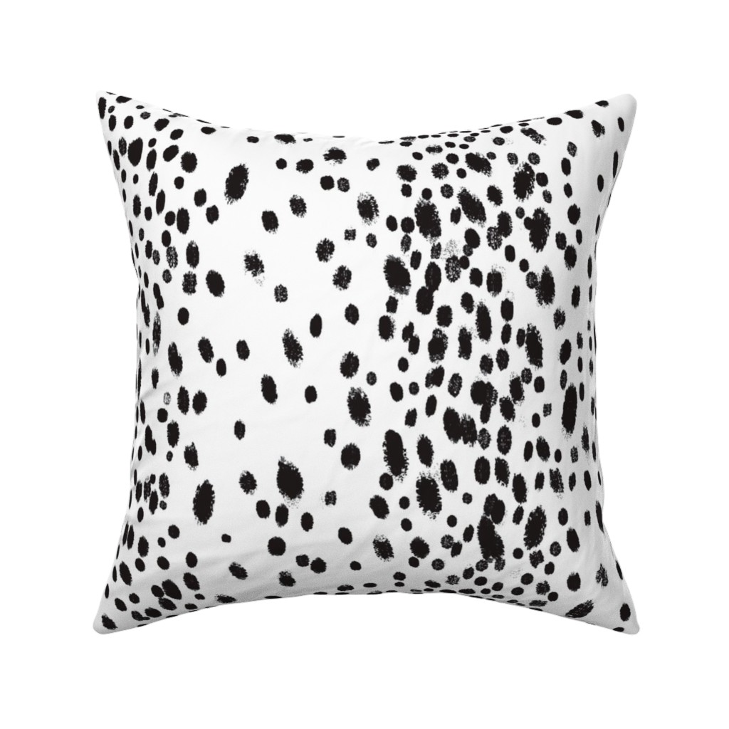 Catalan Throw Pillow featuring charcoal dots by domesticate