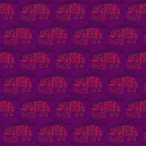 Pink Elephant Block on Purple
