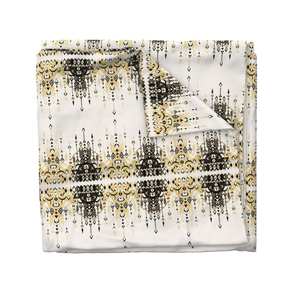 Wyandotte Duvet Cover featuring Modern Deco black and cream horizontal by micklyn