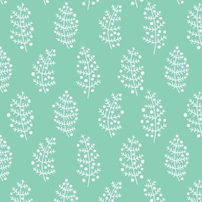 Leaf and berry basic winter and spring leaves repeat in gender neutral mint