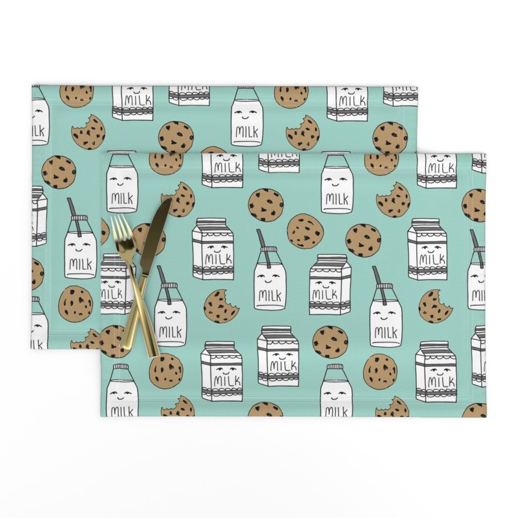 Lamona Cloth Placemats featuring milk and cookies // mint food kids nursery baby kids by andrea_lauren