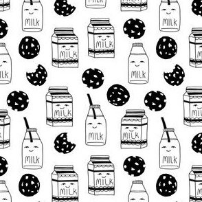milk and cookies // black and white cookies small kids funny cute novelty print for kids