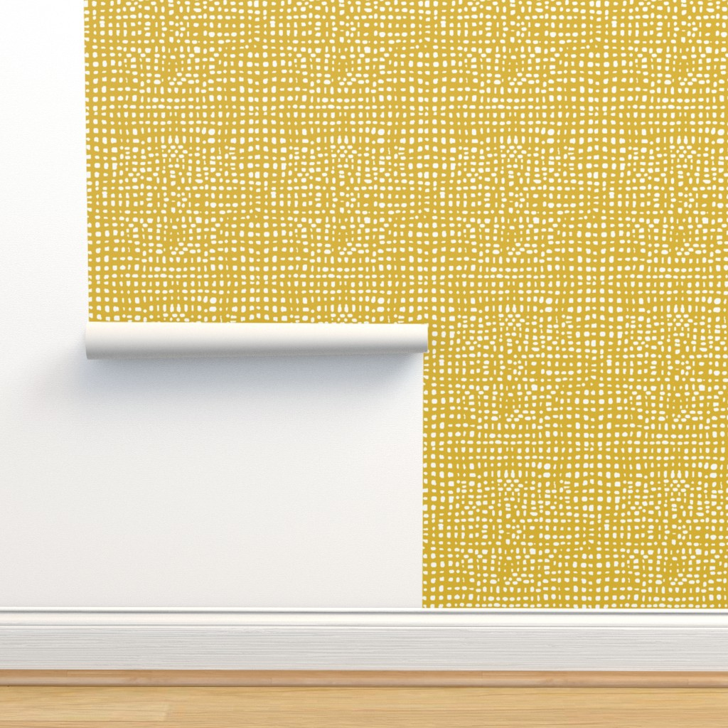 Isobar Durable Wallpaper featuring mustard stripes dots grid lines texture linen look by andrea_lauren