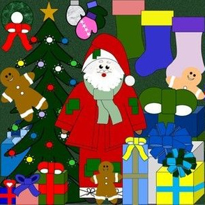 Santa, Stockings, Gingerbread Man, Trees, Gloves, Wreaths & Presents Christmas Fabric #2
