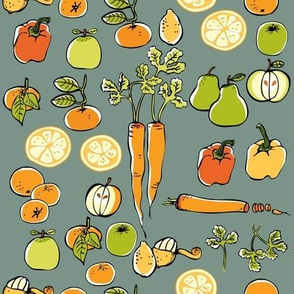 Carrots and Fruits on Sage Green
