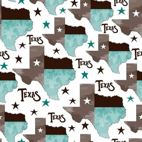 Texas Map Turquoise Large