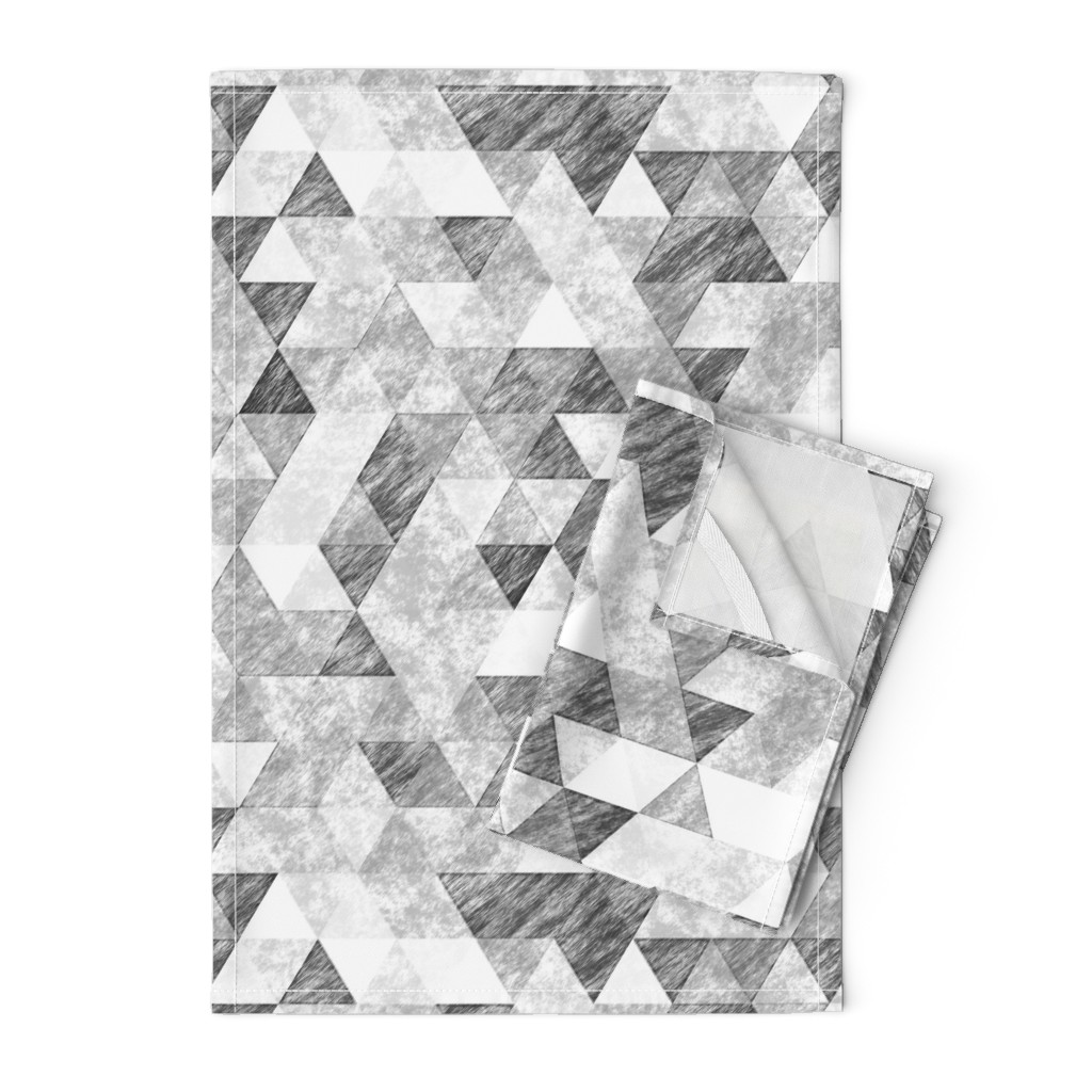 Orpington Tea Towels featuring Triangles Grunge Pencil  Geometric Black&White Grey by caja_design