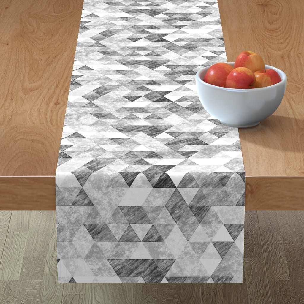 Minorca Table Runner featuring Triangles Grunge Pencil  Geometric Black&White Grey by caja_design