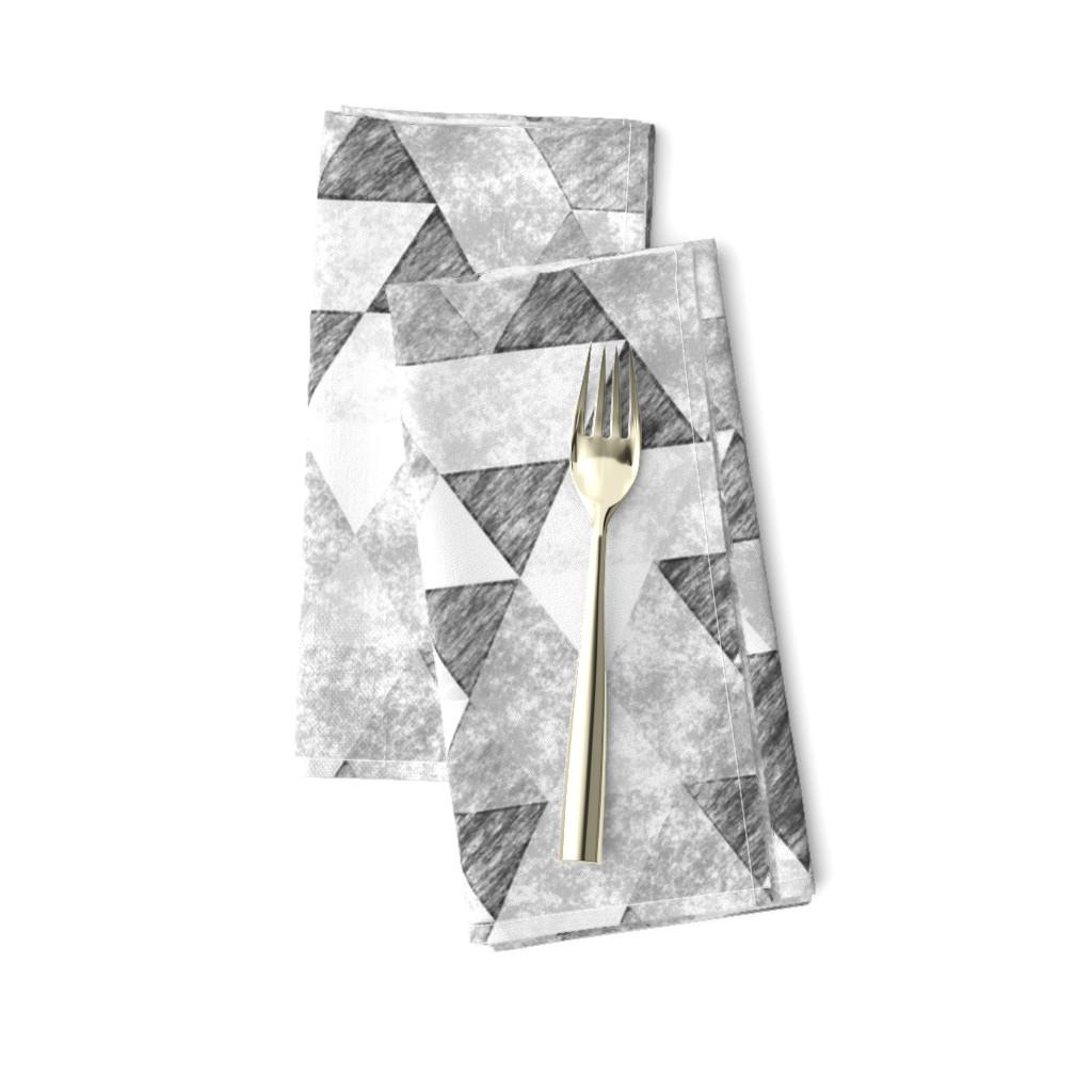 Amarela Dinner Napkins featuring Triangles Grunge Pencil  Geometric Black&White Grey by caja_design