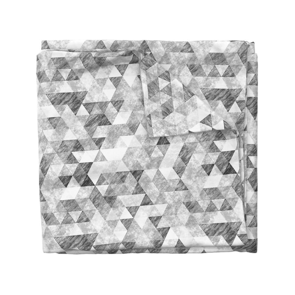 Wyandotte Duvet Cover featuring Triangles Grunge Pencil  Geometric Black&White Grey by caja_design