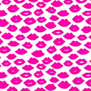 lips // magenta  kisses valentines love fabric