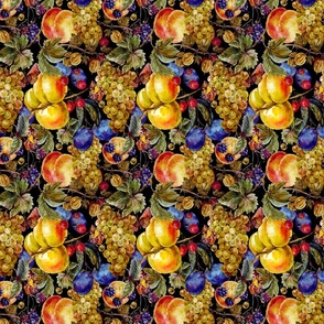 Autumn harvest watercolor seamless pattern with fruits and butterflies