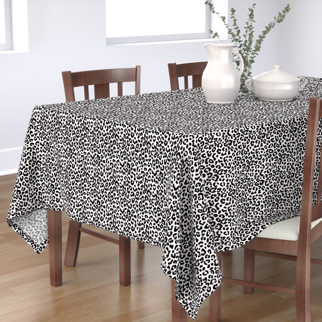 Bantam Rectangular Tablecloth featuring White Pink Leopard Cheetah by thestylesafari
