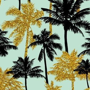 gold glitter palm trees - mint, medium. silhuettes golden imitation tropical forest mint background summer hot black palm leaves shimmering metal effect texture fabric wallpaper giftwrap