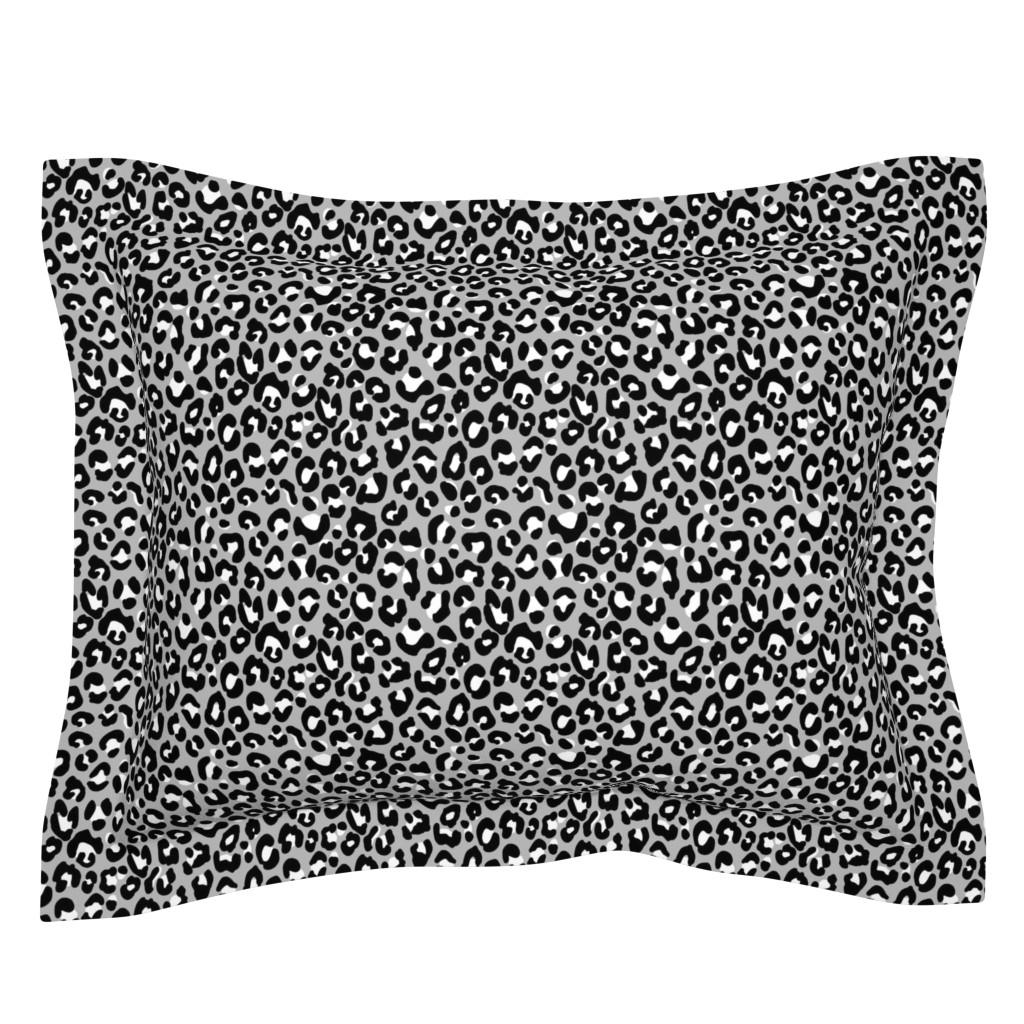 Sebright Pillow Sham featuring Black Grey Leopard Cheetah by thestylesafari