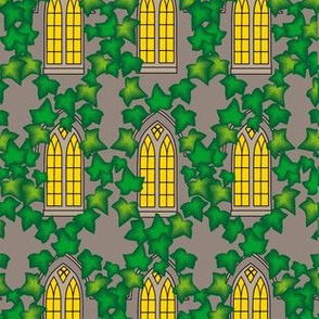 English Church Building Ivy || england Mint Green Gray Grey Taupe Yellow window glass pane religion home_Miss Chiff Designs