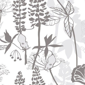 Lupins and Ferns grey