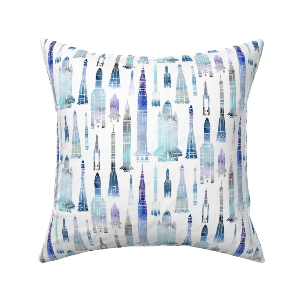 Catalan Throw Pillow featuring Watercolour Rockets Blue by emeryallardsmith