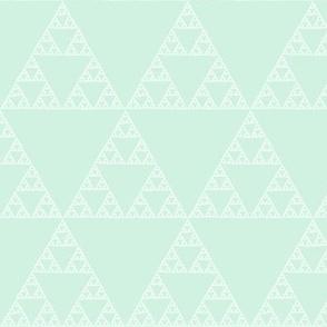 Sierpiński Triangle - white on mint