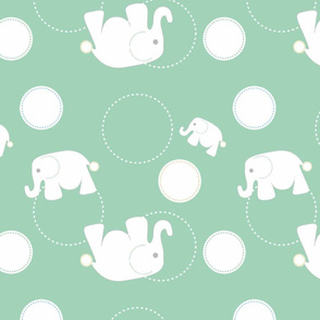 Tossed Elephants Green