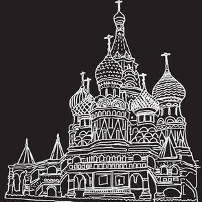 St Basil's white on black