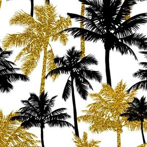 gold glitter palm trees - white, medium. silhuettes golden imitation tropical forest white background summer hot black palm leaves shimmering metal effect texture fabric wallpaper giftwrap
