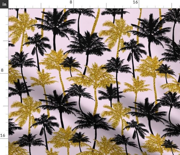 Note To Fox News This Is Not Palm Tree >> Gold Glitter Palm Trees Light Pink M Spoonflower