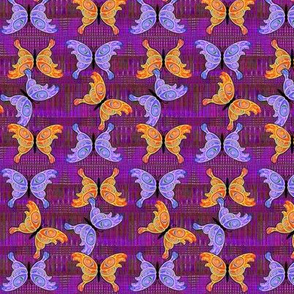 Blue and Orange Butterflies on Purple Background