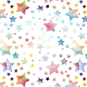 Stars - watercolour rainbow
