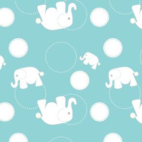 Tossed Elephants Blue