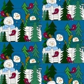 Snowmen Winter Trees Fabric #3