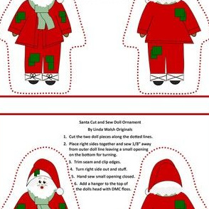 Bowling For Xmas, Santa Cut and Sew Doll Ornament #1