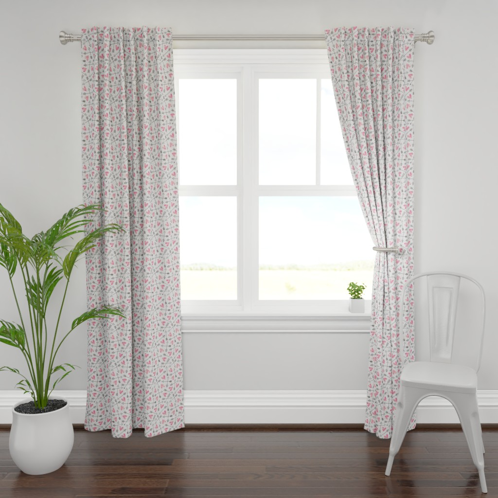 Plymouth Curtain Panel featuring Arrows and Watercolor Hearts Love Valentine Pink by caja_design