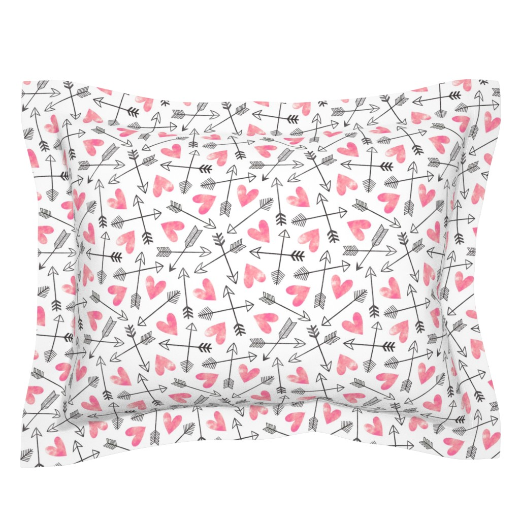 Sebright Pillow Sham featuring Arrows and Watercolor Hearts Love Valentine Pink by caja_design